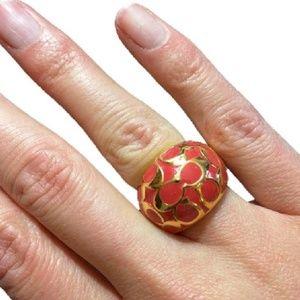COACH Gold/Orange Signature Logo Enamel Domed Ring
